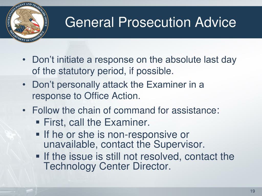 General Prosecution Advice