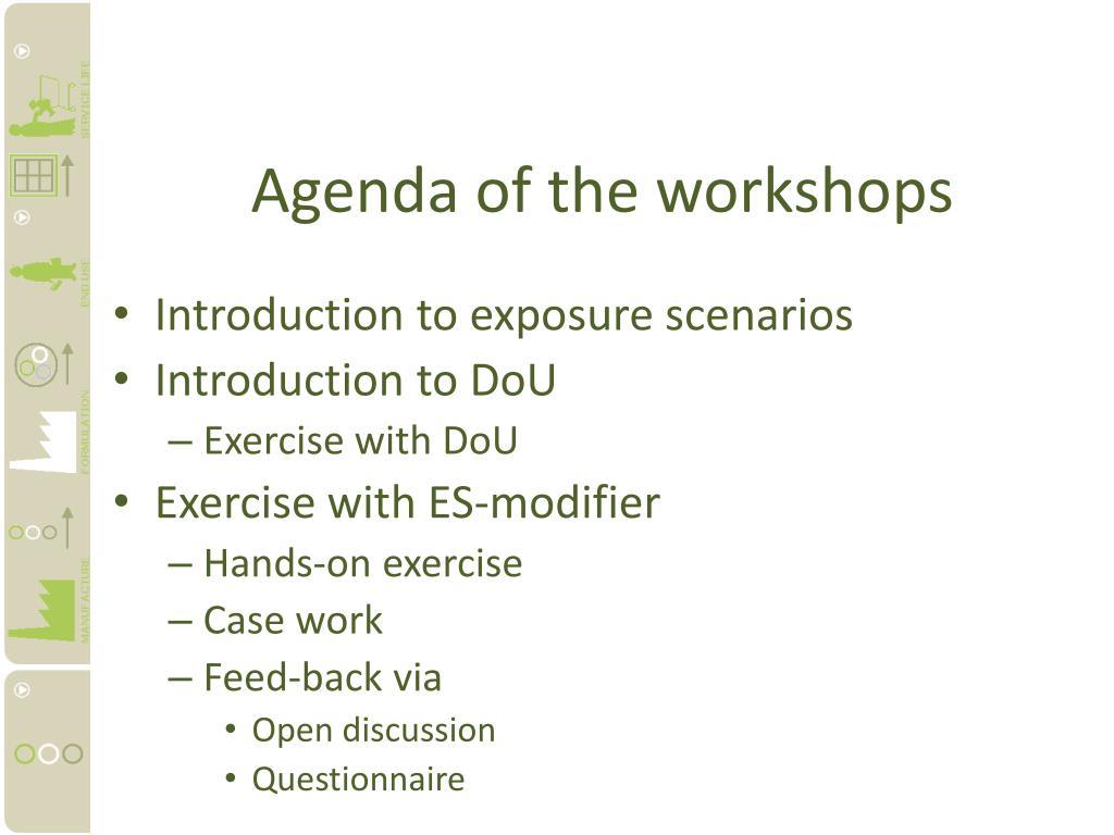 Agenda of the workshops