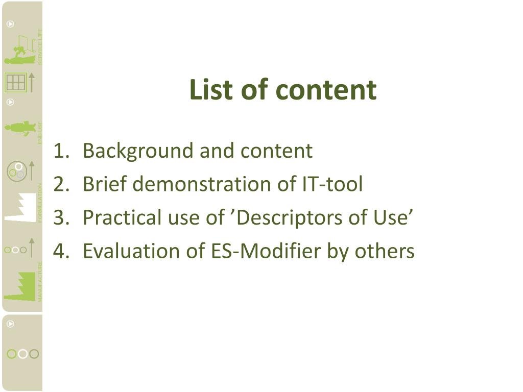 List of content