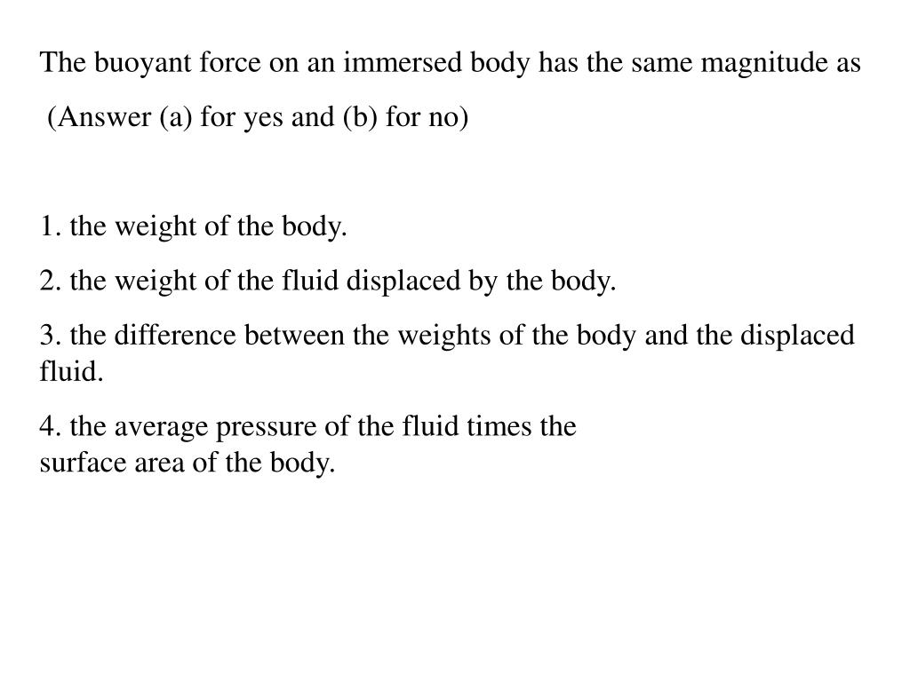 The buoyant force on an immersed body has the same magnitude as
