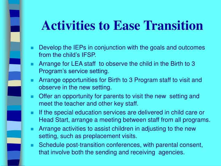 Activities to Ease Transition
