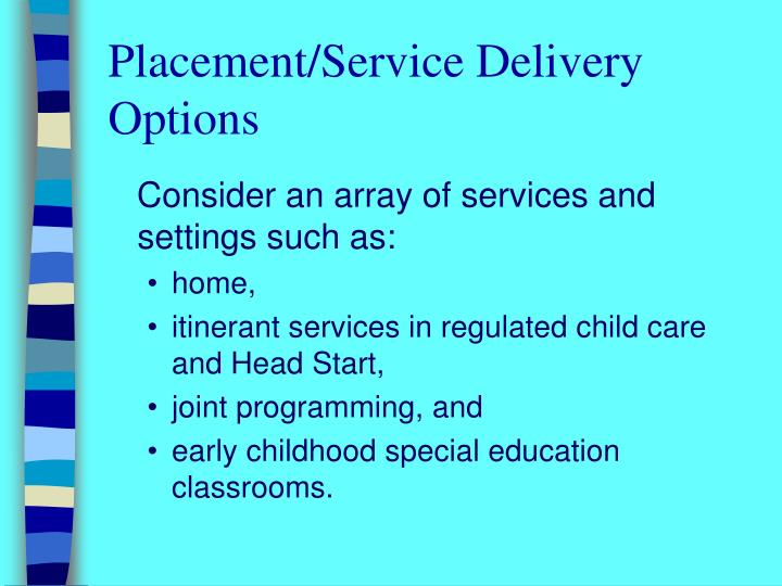 Placement/Service Delivery Options