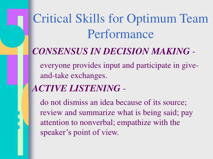 Critical Skills for Optimum Team Performance