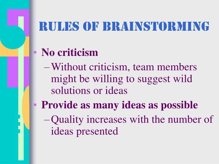 Rules of Brainstorming
