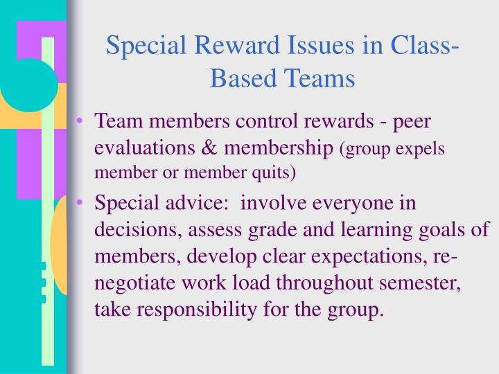 Special Reward Issues in Class-Based Teams