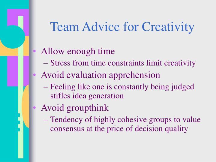 Team Advice for Creativity