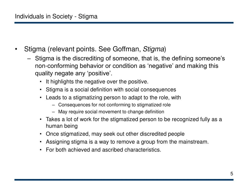 Individuals in Society - Stigma