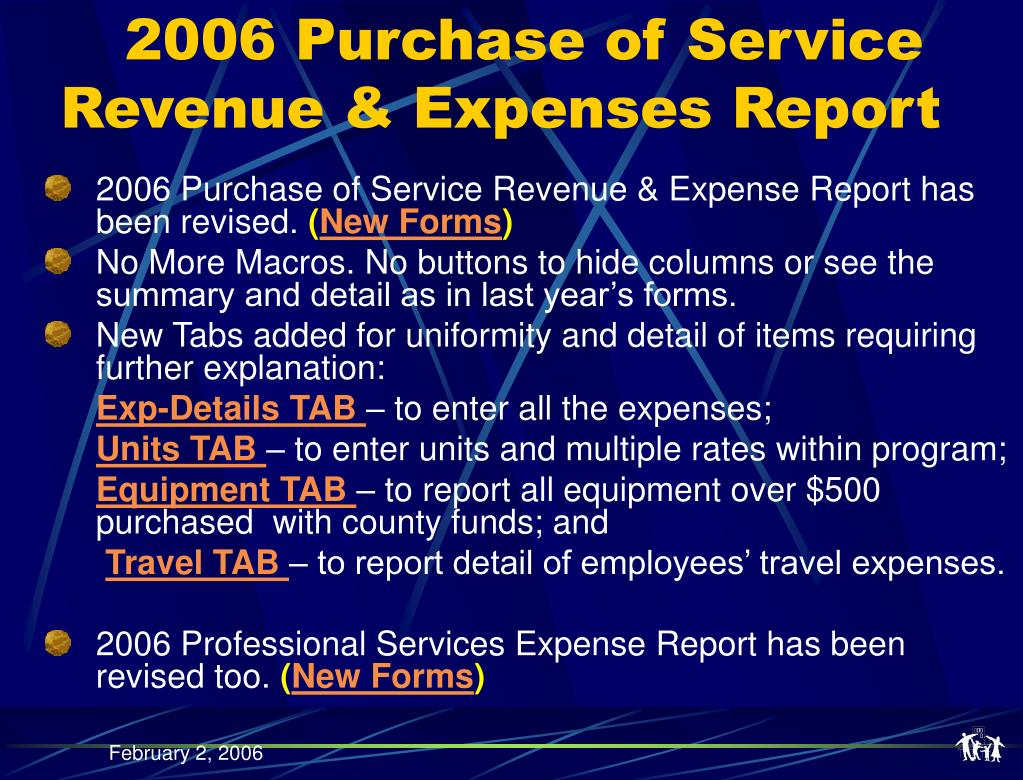 2006 Purchase of Service Revenue & Expenses Report