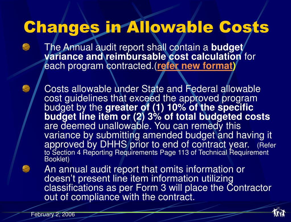 Changes in Allowable Costs
