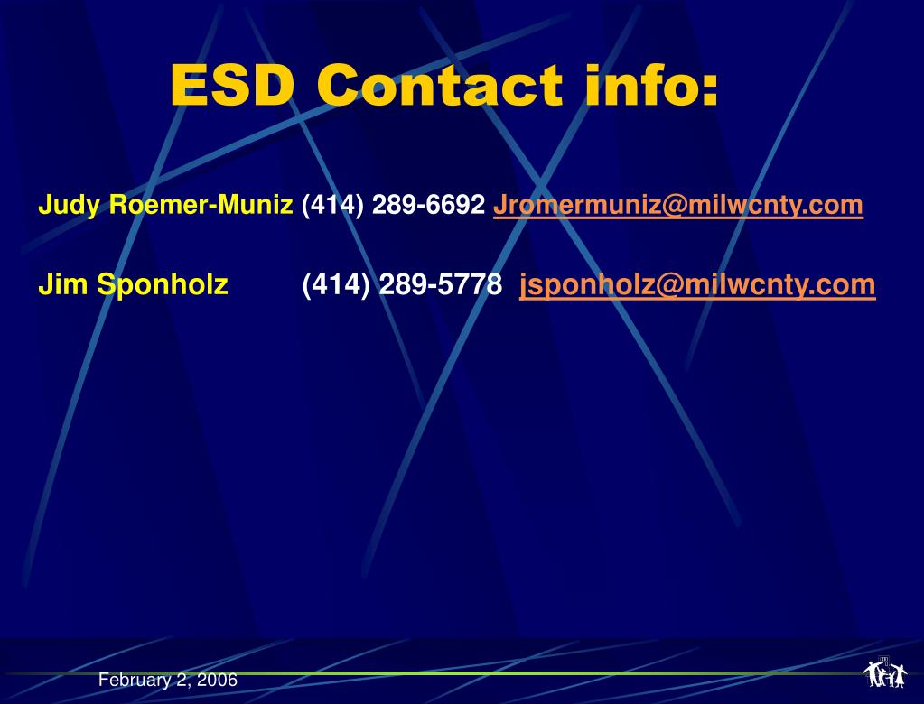 ESD Contact info:
