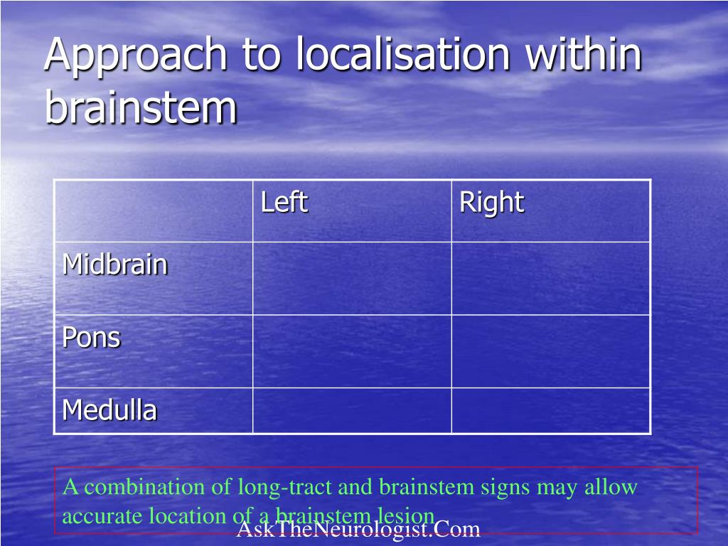 Approach to localisation within brainstem