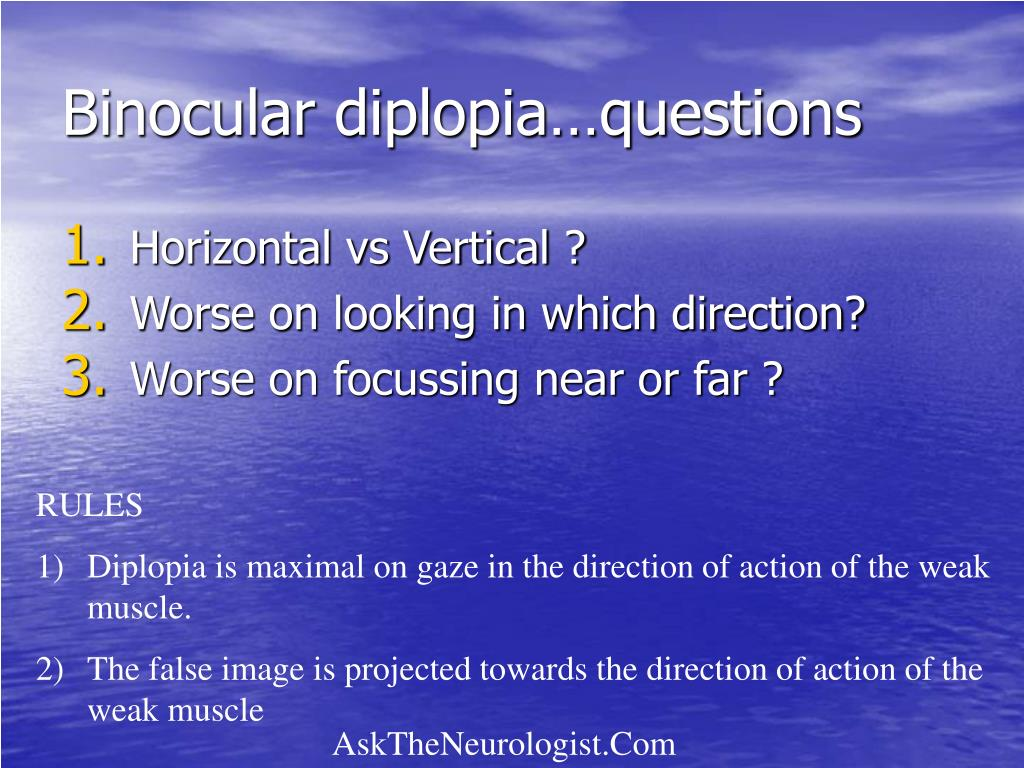 Binocular diplopia…questions