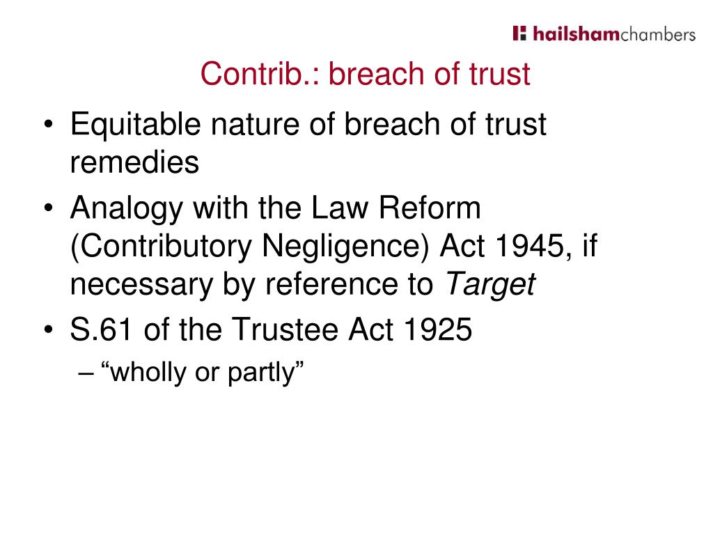 Equitable nature of breach of trust remedies