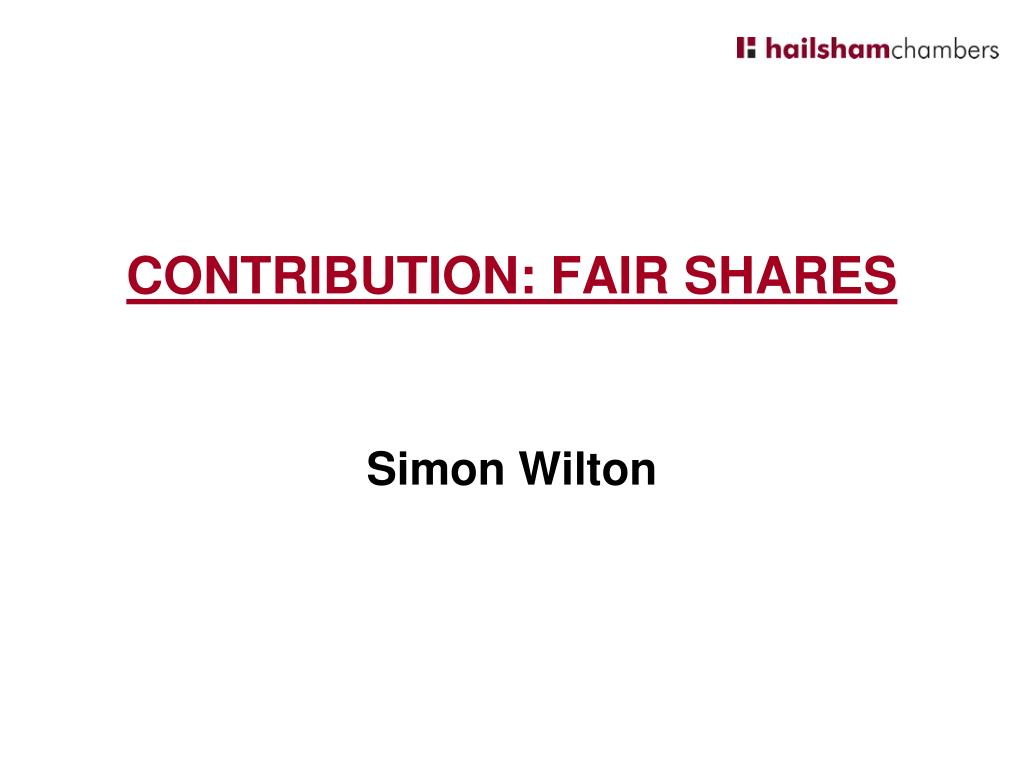 CONTRIBUTION: FAIR SHARES