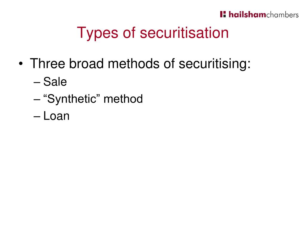 Types of securitisation