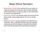 major minor numbers