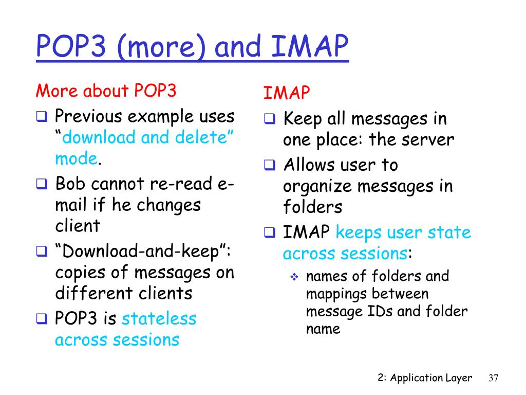 POP3 (more) and IMAP