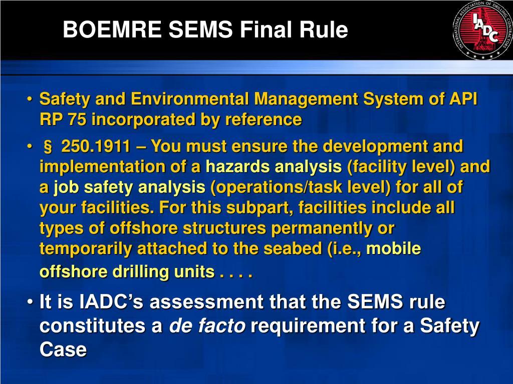 BOEMRE SEMS Final Rule