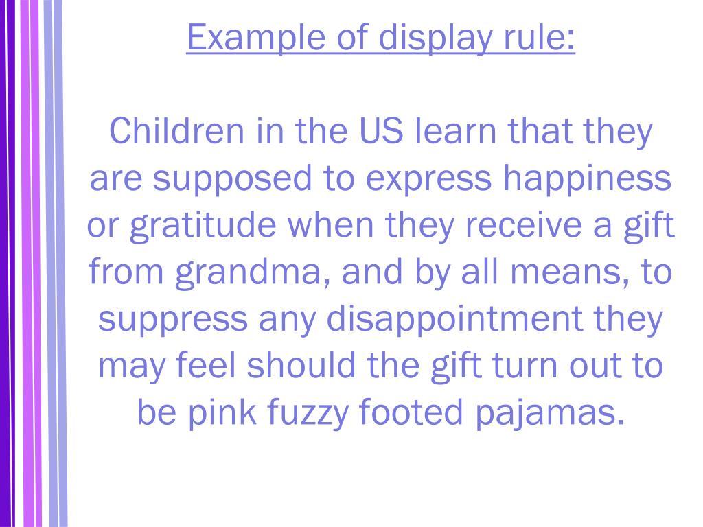 Example of display rule: