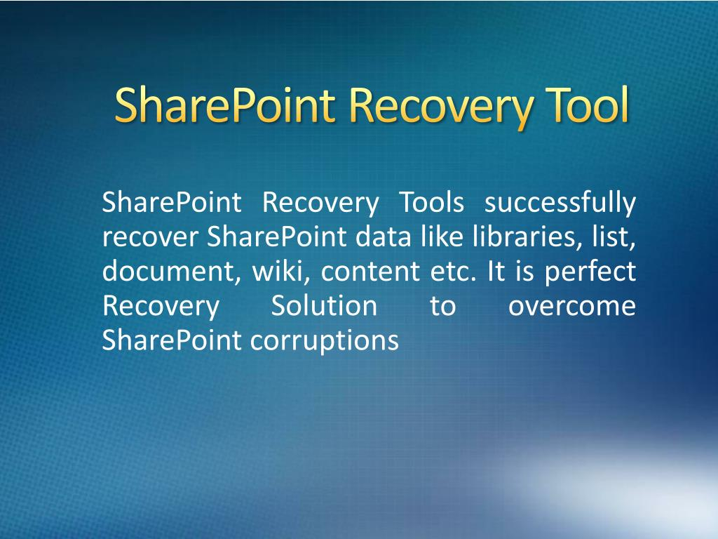 sharepoint recovery tool