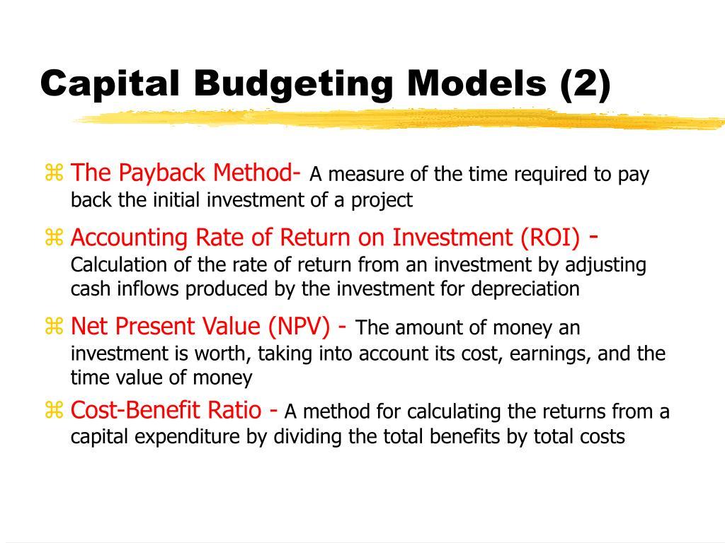Capital Budgeting Models (2)
