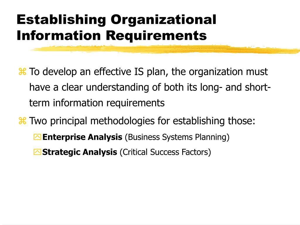 Establishing Organizational Information Requirements