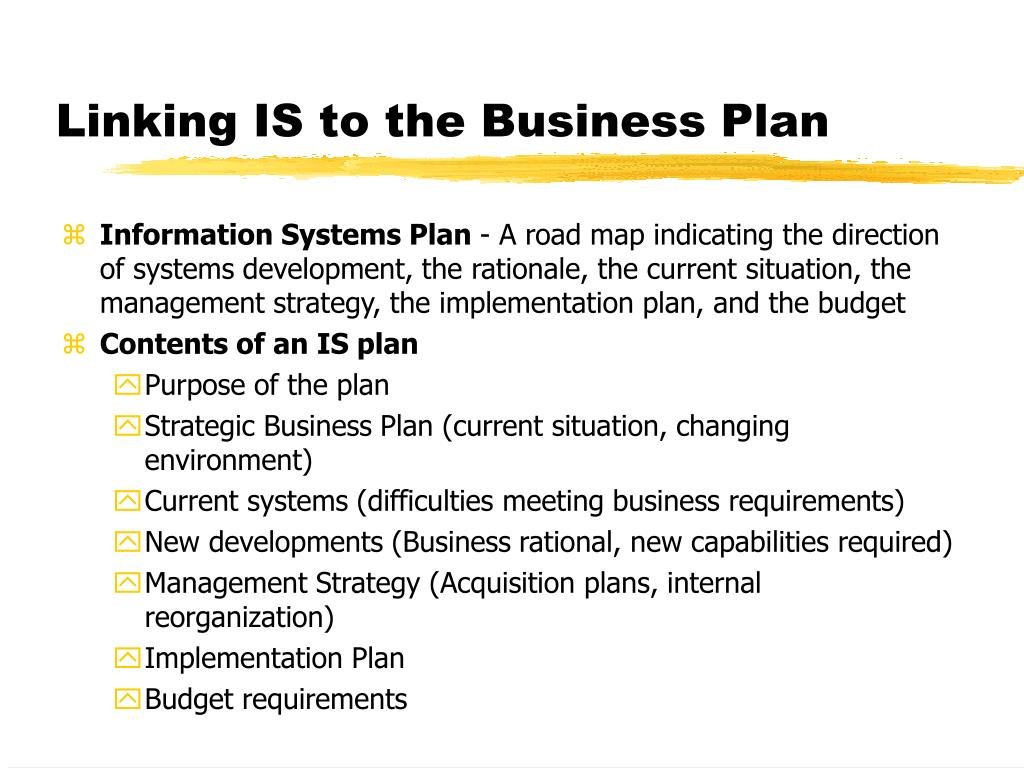 Linking IS to the Business Plan
