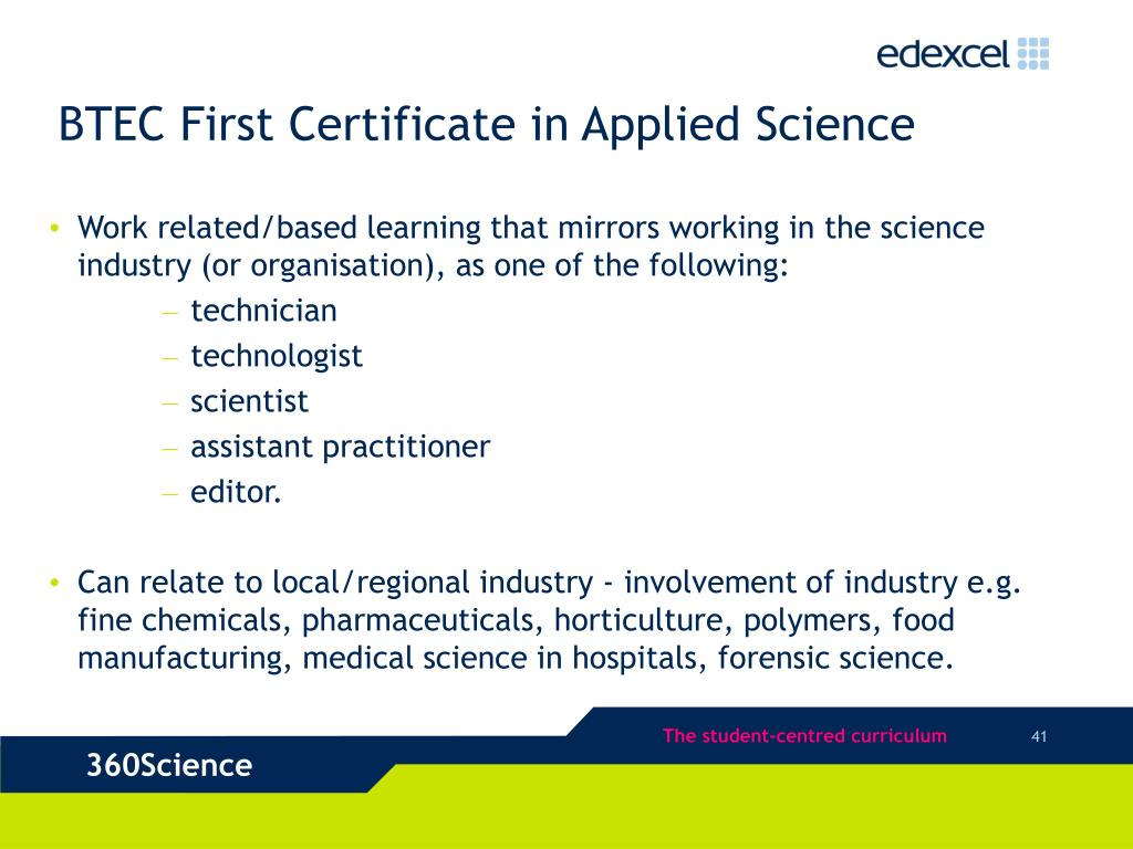 BTEC First Certificate in Applied Science