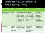 community based trusts foundations ngos