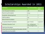 scholarships awarded in 2011
