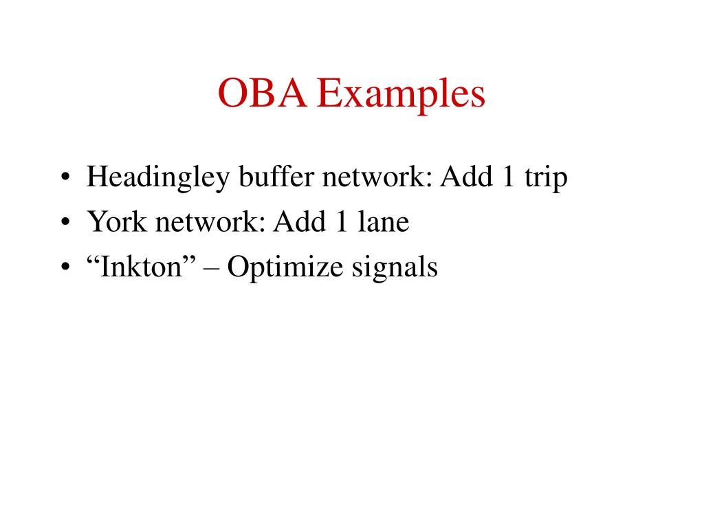 OBA Examples