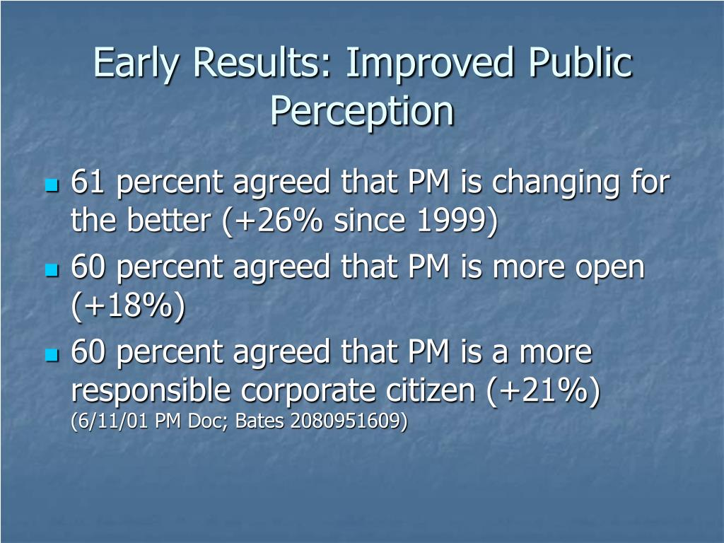 Early Results: Improved Public Perception