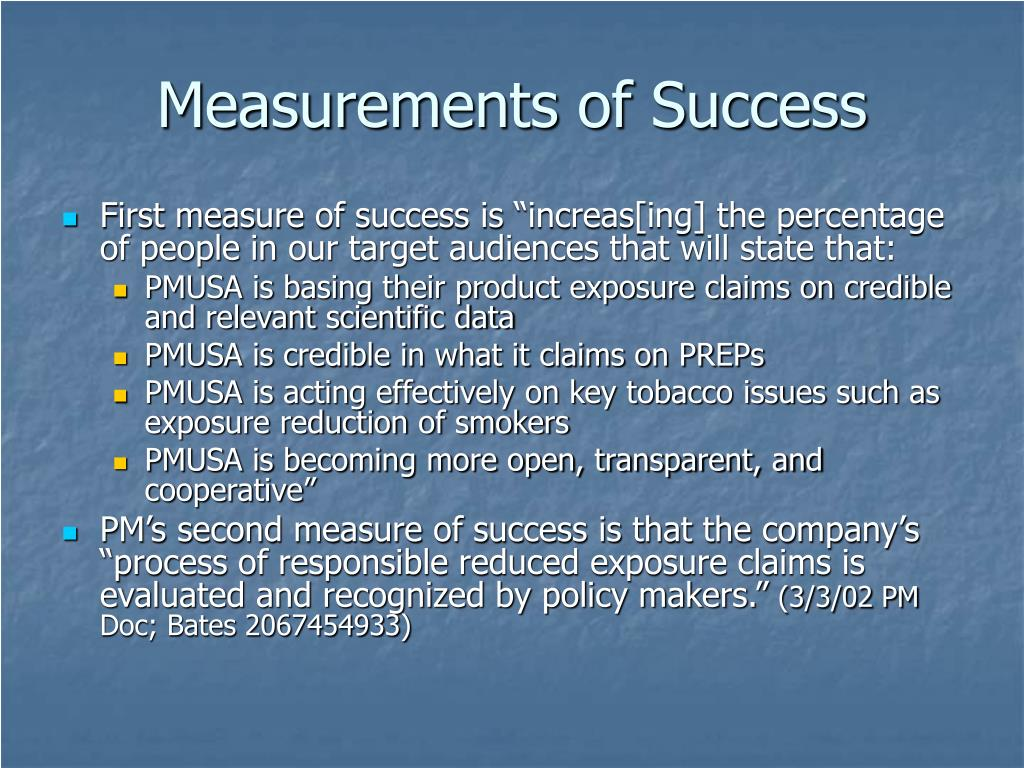 Measurements of Success