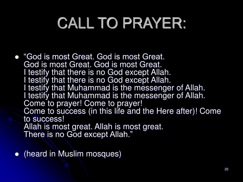 CALL TO PRAYER: