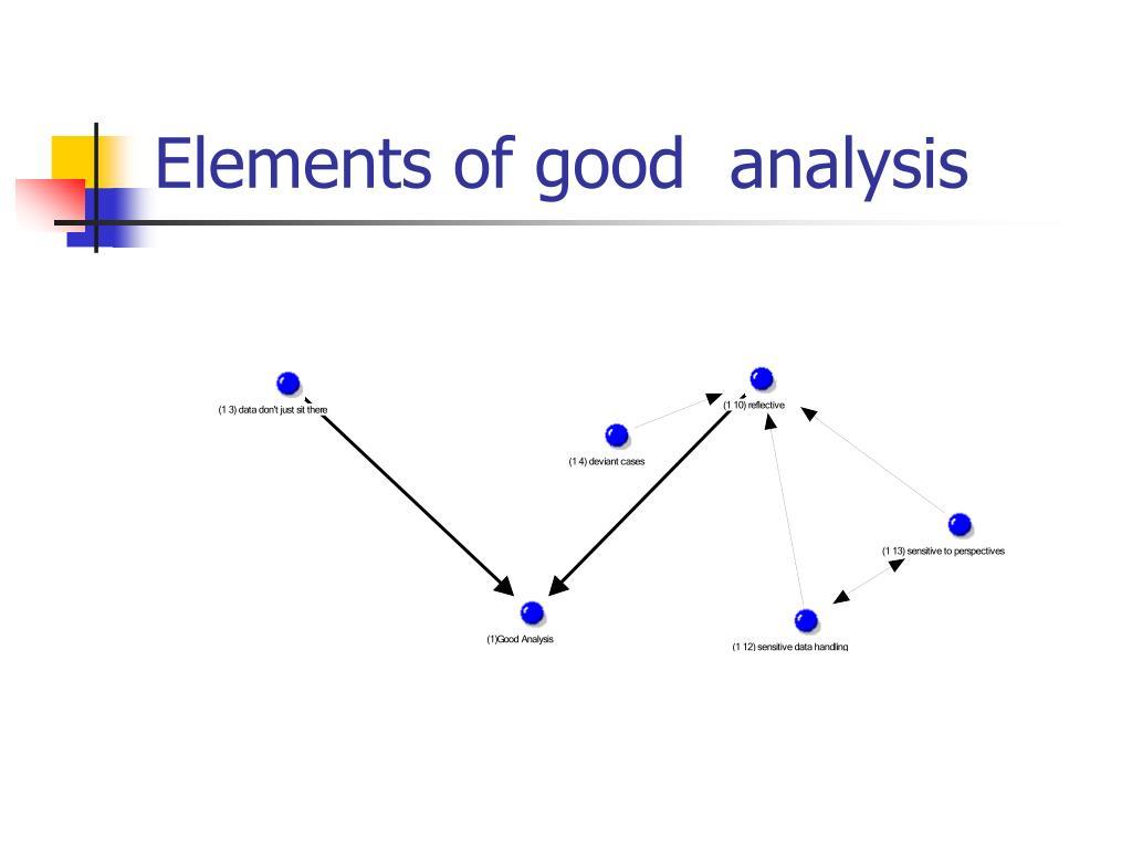 Elements of good  analysis