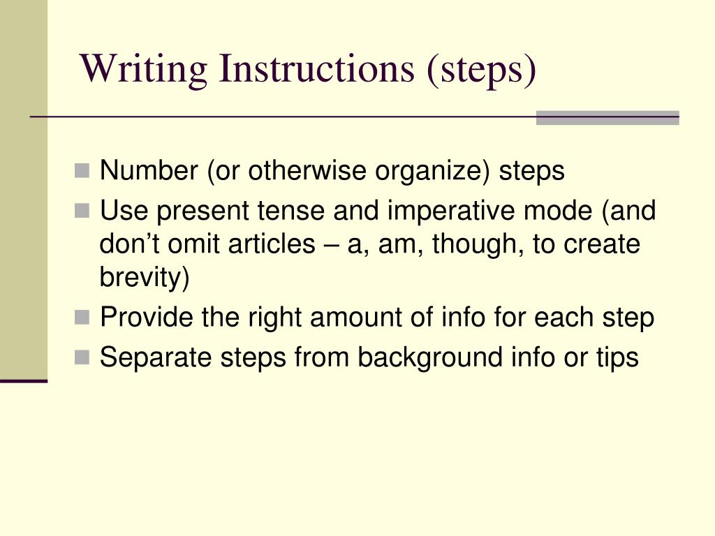Ppt Writing Instructions Powerpoint Presentation Id 255359