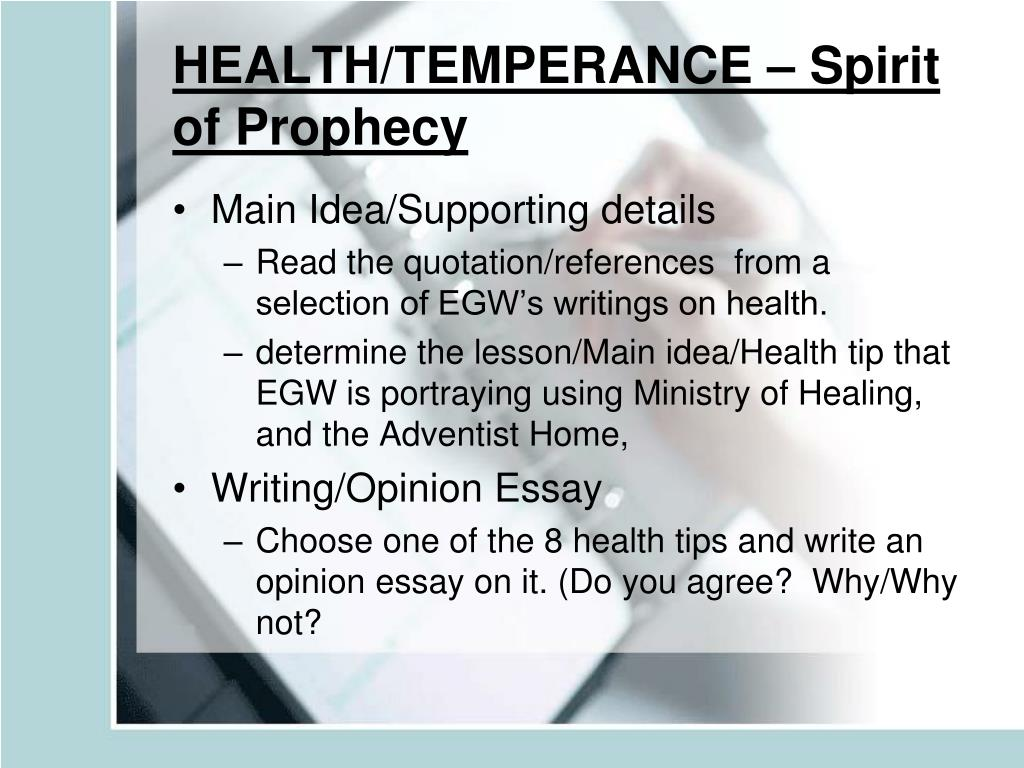 HEALTH/TEMPERANCE – Spirit of Prophecy