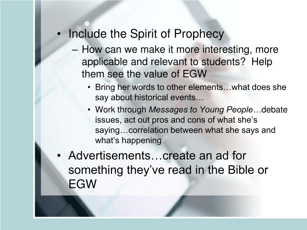 Include the Spirit of Prophecy