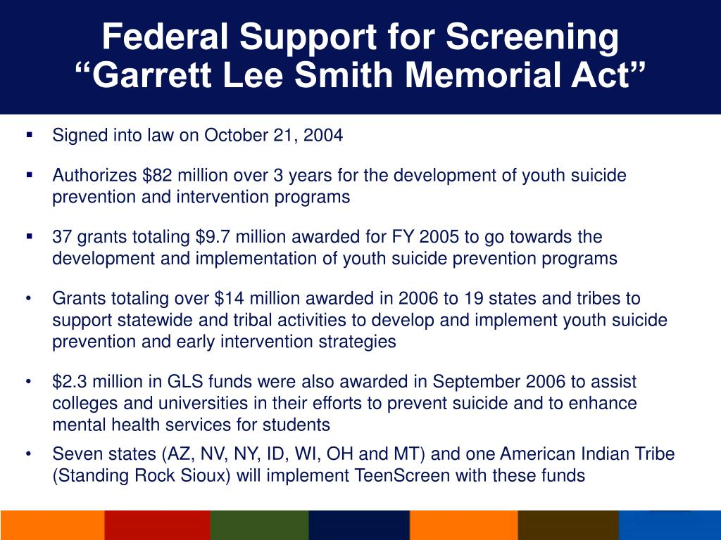 Federal Support for Screening