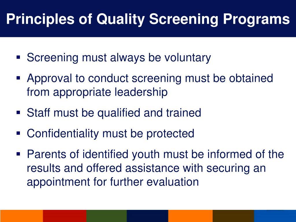Principles of Quality Screening Programs