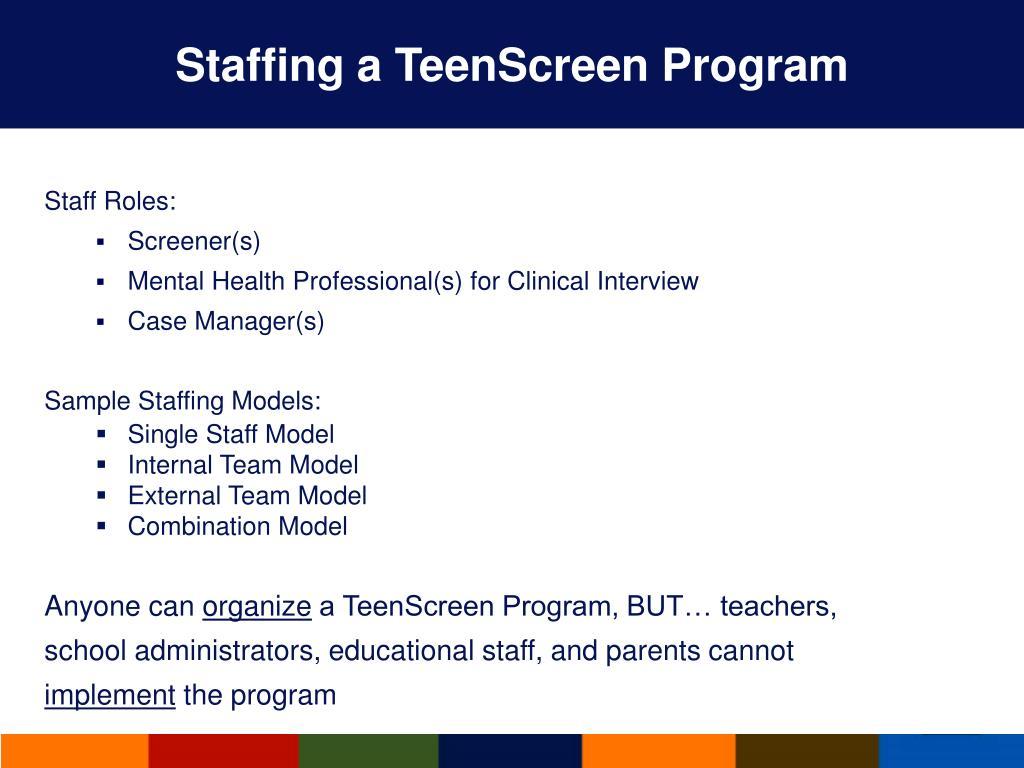 Staffing a TeenScreen Program