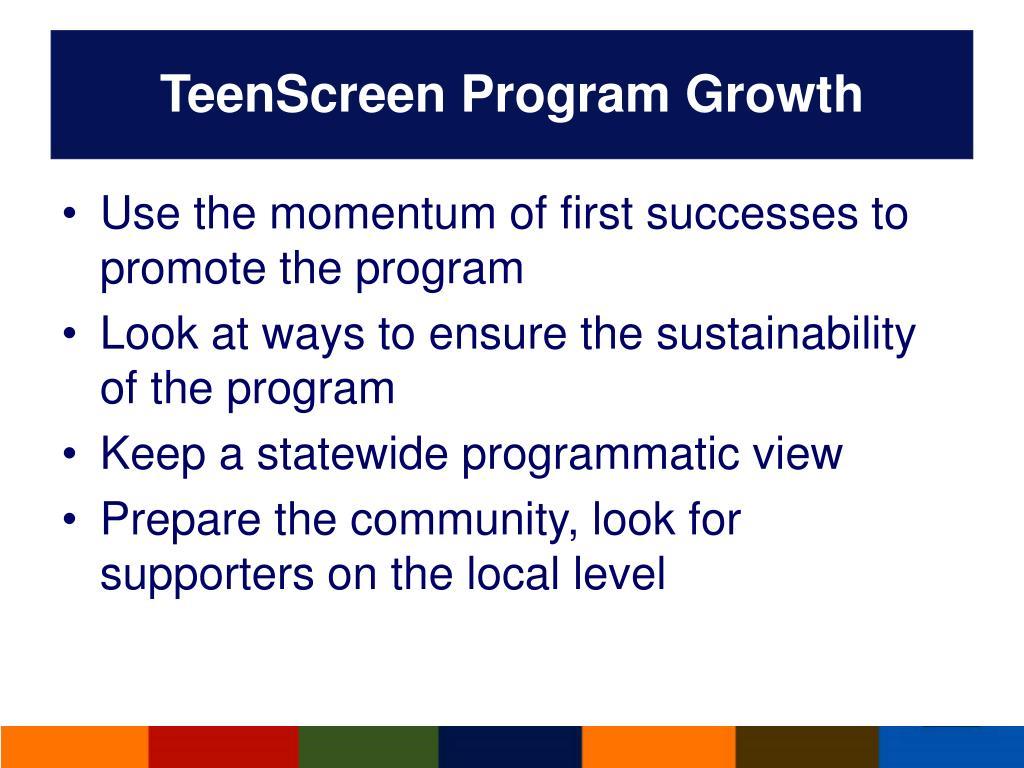 TeenScreen Program Growth