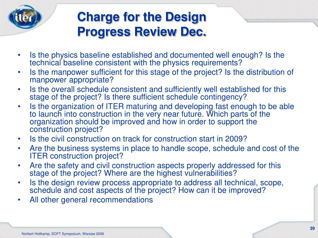 Charge for the Design Progress Review Dec.