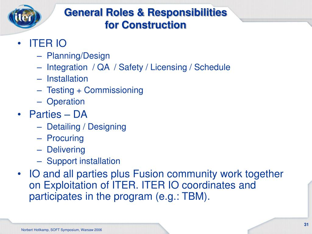 General Roles & Responsibilities for Construction