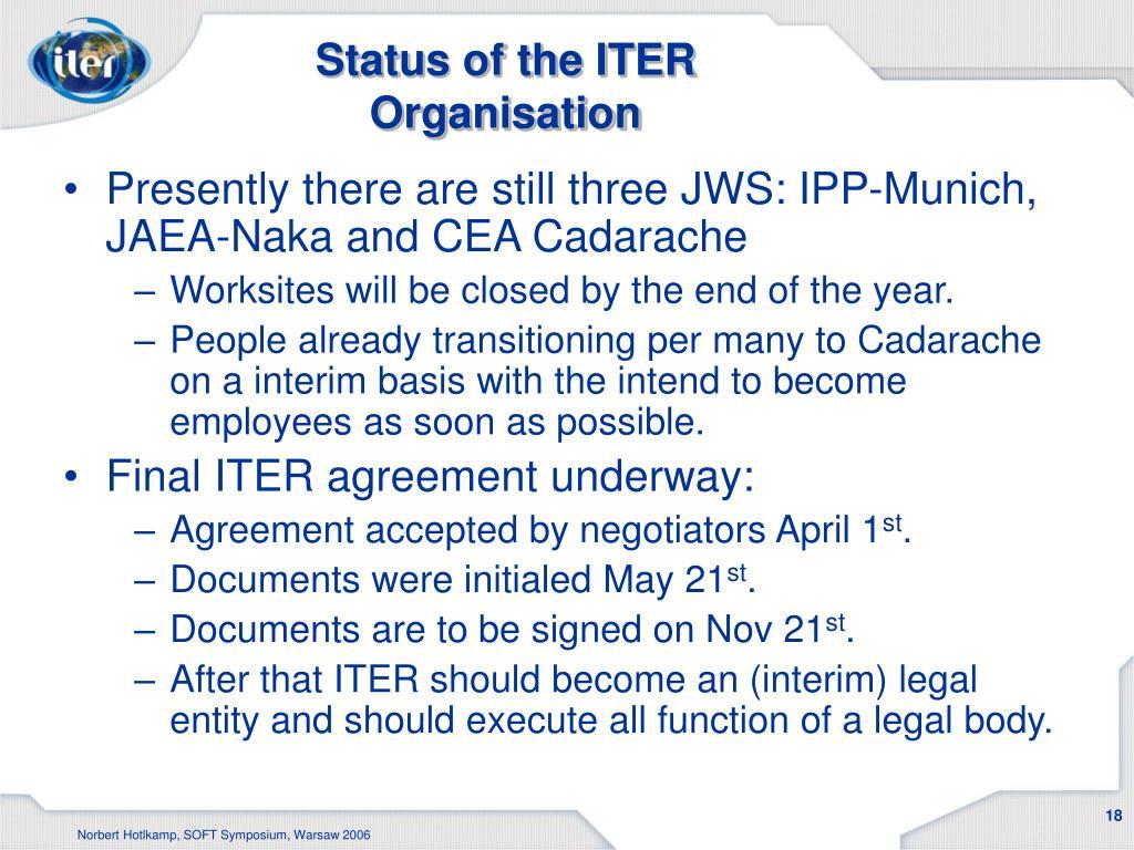 Status of the ITER Organisation