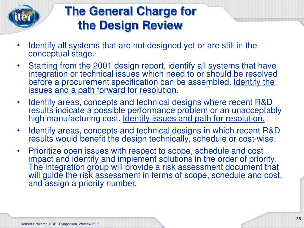 The General Charge for the Design Review