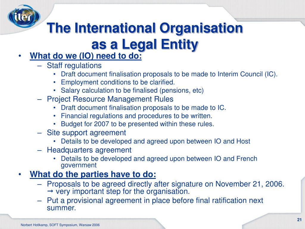 The International Organisation as a Legal Entity