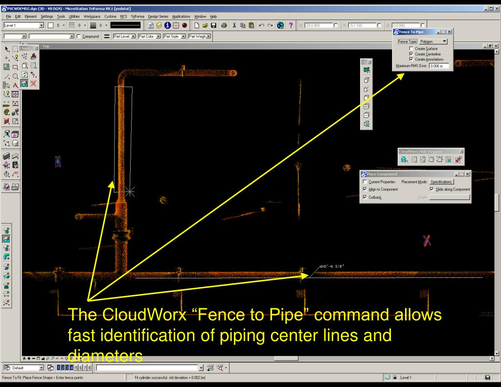 """The CloudWorx """"Fence to Pipe"""" command allows fast identification of piping center lines and diameters"""