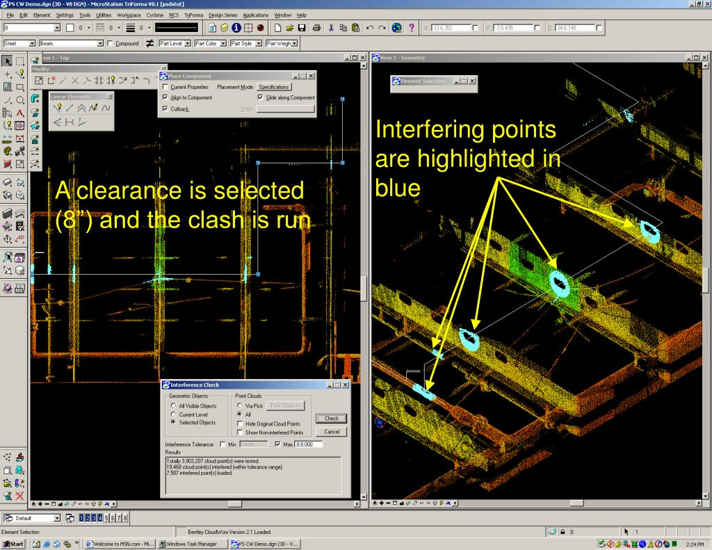 Interfering points are highlighted in blue
