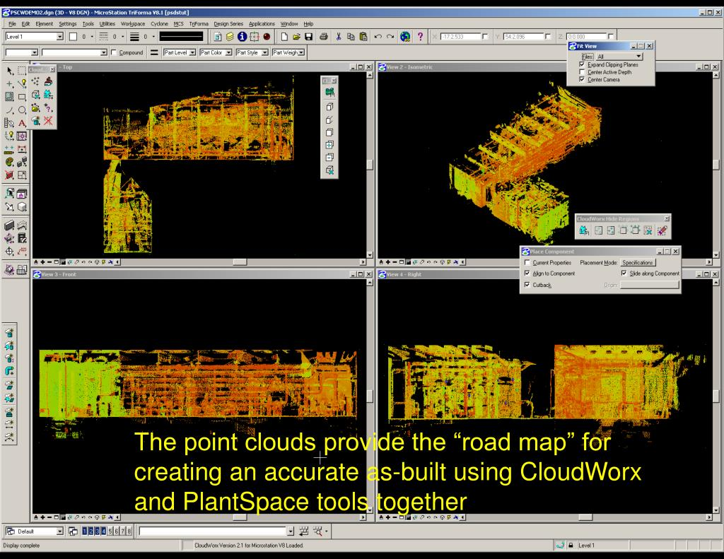 """The point clouds provide the """"road map"""" for creating an accurate as-built using CloudWorx and PlantSpace tools together"""
